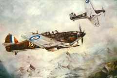 Aviation_artist_JLPC_Baragwanath_Alan_Hindle_painting_Hawker_Hurricanes
