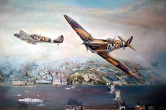 Aviation_artist_JLPC_Baragwanath_Alan_Hindle_painting_Supermarine_Spitfire_DW-A_and_DW-D