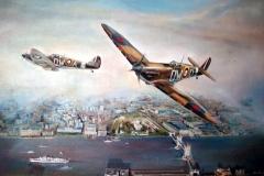 Aviation_artist_JLPC_Baragwanath_Alan_Hindle_painting_Supermarine_Spitfire_DW-A_and_DW-D
