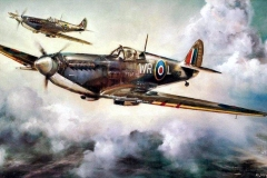 Aviation_artist_JLPC_Baragwanath_Alan_Hindle_painting_Supermarine_Spitfire_Formation